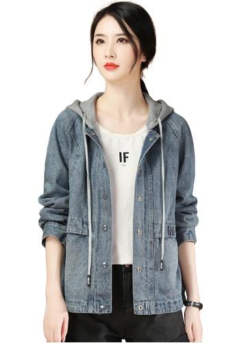 A-IN GIRLS grey and blue Loose Hooded Denim Jacket AD096AA3AAEEEFGS_1