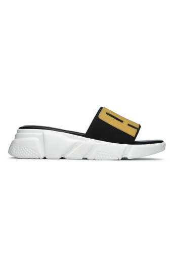 Byford white and yellow Gannock Flat Sandals D1081SHB9F0FC8GS_1