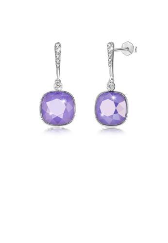 Glamorousky purple 925 Sterling Silver Elegant Fashion Simple Sparkling Purple Austrian element Crystal Earrings EE262AC0BEE972GS_1