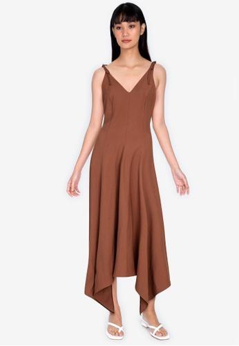 ZALORA BASICS brown Asymmetric Midi Dress 5DD25AAEC93B43GS_1
