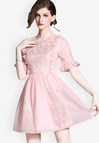 Sunnydaysweety pink Sweet Lady Polyester One-piece Dress 34B0BAAE03ABC9GS_1