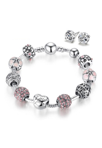 YOUNIQ silver YOUNIQ 925S Silver Plated Charm Bracelet with Love & Flower Crystal Ball & CZ White 925S Silver Earrings Special Set 52D2FACD9723A8GS_1
