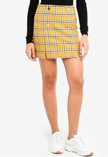 Miss Selfridge yellow Yellow Checkered Mini Skirt AFA2BAA472118AGS_1
