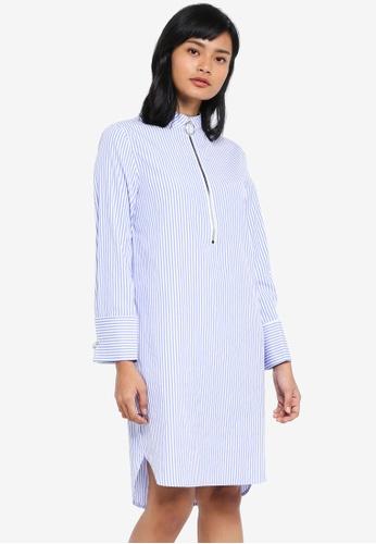 Something Borrowed blue Zip Front Shirt Dress 8B4D4AAA26C12EGS_1