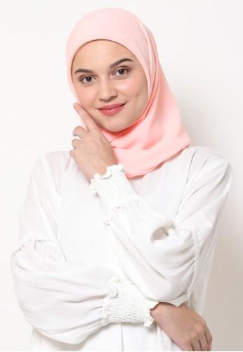 KASHKHA pink Hijab Square Poly Corner with Kashkha / W19SHCAHJBKGR3064-Babypink CB9E6AA7770236GS_1