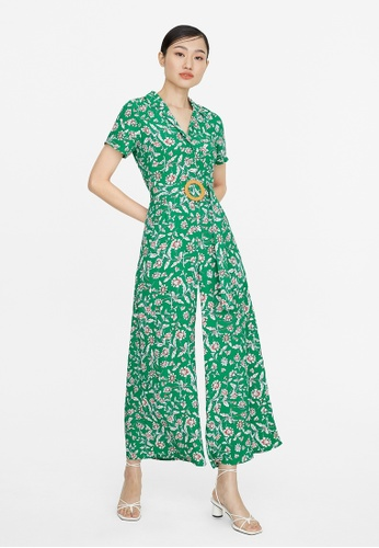 Pomelo green Floral Oval Buckle Jumpsuit - Green 5B982AA40F23DBGS_1