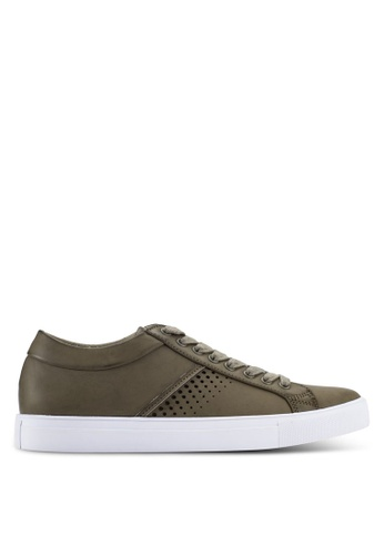 ZALORA grey Faux Leather Sneakers with Perforation Details 05333SHF697E47GS_1