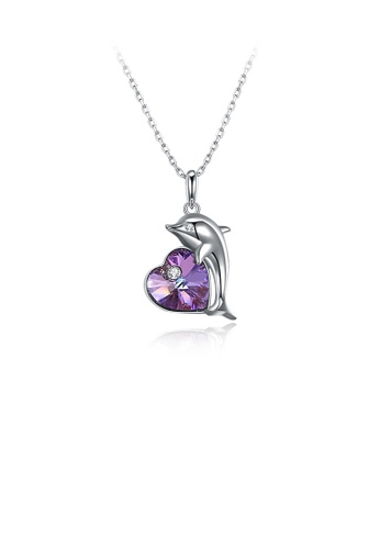Glamorousky purple 925 Sterling Silver Fashion Dolphin Pendant with Heart-shaped Purple Austrian Element Crystal and Necklace 4E2A2AC55B55CAGS_1