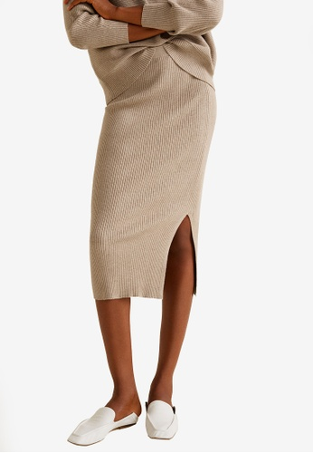 Mango brown Cable Knit Skirt 5764BAA9ABE620GS_1