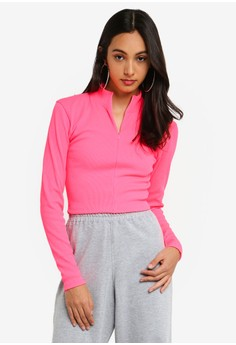 fb41f9dd8855b3 MISSGUIDED pink Zip Front Ribbed Crop Top DB213AA92F25C5GS 1