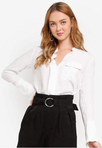 Hopeshow white Madarin Collar Button Long Sleeve Blouse CA1F5AA729C1D2GS_1
