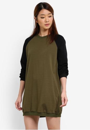 Something Borrowed green Contrast Sleeve Sweater Dress 2AC7FAAEBD1055GS_1