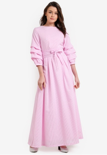 Zalia pink Tiered Sleeve Fit And Flare Dress F682CAAF5334D2GS_1