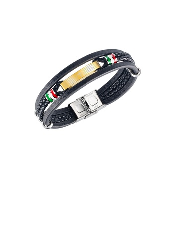 Glamorousky silver Fashion and Simple Plated Gold 316L Stainless Steel Cross Geometric Multilayer Black Leather Bracelet CD506ACAEF0F43GS_1