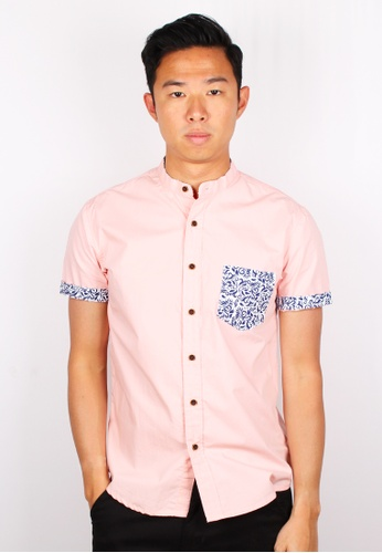Moley pink Tribal Pocket Mandarin Collar Short Sleeve Shirt 7E1ECAAEC5497BGS_1