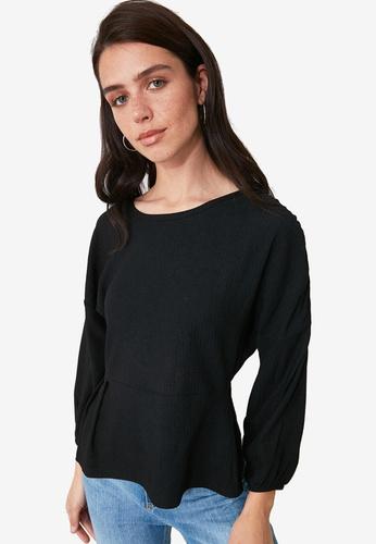 Trendyol black Puffed Sleeve Peplum Ribbed Top F779BAAAE655F5GS_1