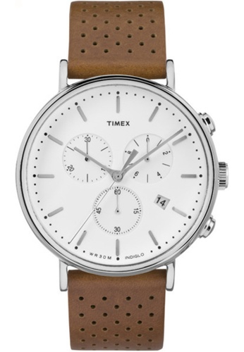Timex white and brown Timex Fairfield Chrono TW2R267 CBE5CAC98EAC87GS_1