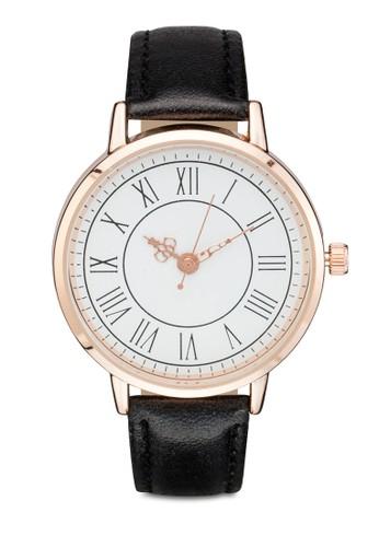 羅馬數字圓框仿皮手錶, 錶類, 飾品配esprit台灣outlet件