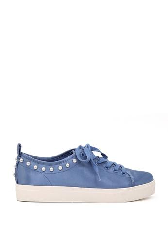 London Rag 藍色 LONDON RAG 女式蓝色金属珍珠系带运动鞋 SH1587 C31FDSHD9BE51FGS_1