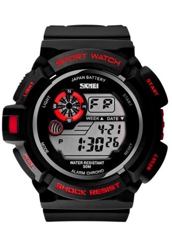 Skmei red SKMEI 0939 Men's Military Digital Date Calendar LED Sports Watch (Red) SK707AC0RXCOMY_1