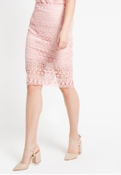 EDITION pink Lace Pencil Skirt ED101AA18DVHID_1