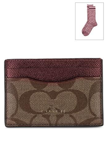 Coach pink Boxed Flat Card Case And Socks (cv) D20E0AC70DEA44GS_1