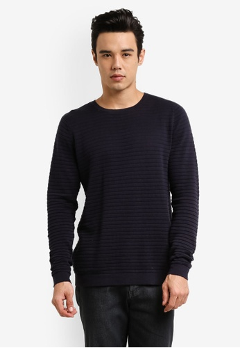 Only & Sons navy Henry Knitted Jumper ON662AA0RB5OMY_1