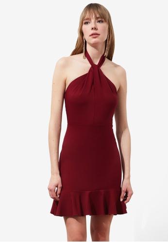 Trendyol red Halter Neck Flywheel Dress 21B8EAA58130AEGS_1