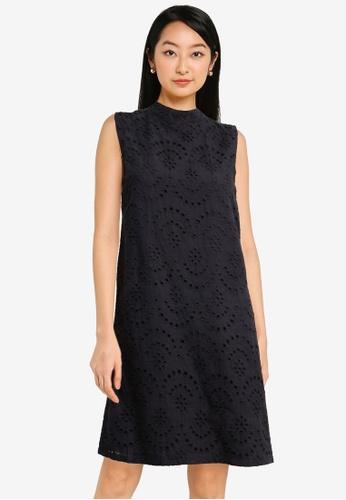 ZALORA BASICS black Eyelet Shift Dress D576DAACAD0E74GS_1