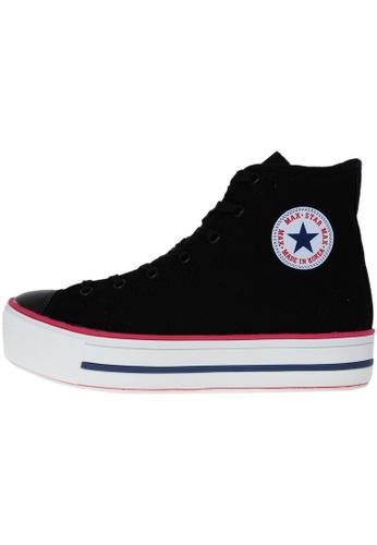 Maxstar 黑色 新款韩国鞋C30-Taller時尚帆布布混合女黑色 US Women Size MA345SH00HETTW_1