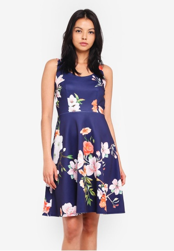 Dorothy Perkins navy Cross Strap Floral Skater Dress 67028AA14E7225GS_1
