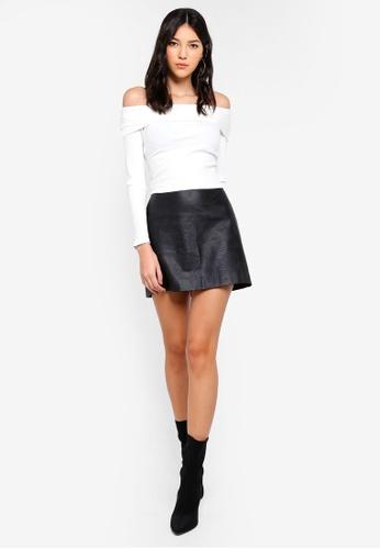 8993b516f69d0 Buy Miss Selfridge Ivory Jumbo Ribbed Bardot Top Online on ZALORA Singapore