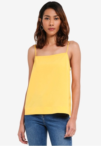 TOPSHOP yellow Yellow Square Neck Cami Top 254E7AA3A34BBDGS_1