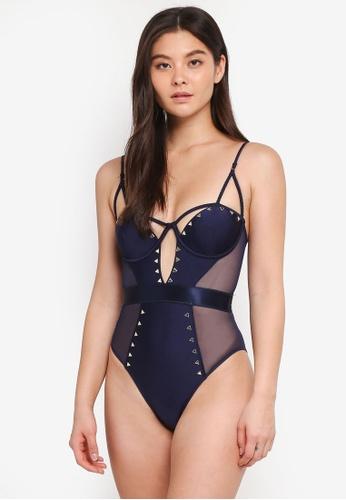 River Island navy Heatseal Cut Out Swimsuit A43DFUSA4FDD45GS_1