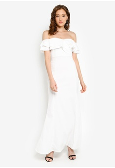 b0cd68bcfe 10% OFF Boohoo Bardot Double Ruffle Sweetheart Maxi Dress HK$ 389.00 NOW  HK$ 350.00 Sizes 6 8 10 12 14