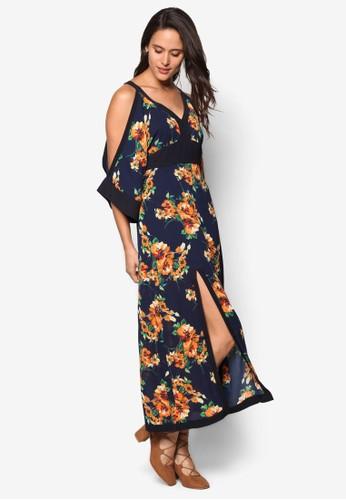 花卉印花挖肩長洋裝, 服飾,esprit outlet 家樂福 洋裝
