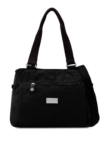 Bagstationz black Crinkled Nylon Shoulder Bag 1232AAC17E344BGS_1