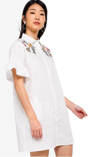 Something Borrowed white Embroidered Flutter Sleeves Shirt Dress BBE1FAA351044BGS_1