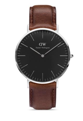 Daniel Wellington brown and silver Classic Bristol Black 40mm Silver Watch 6A378ACD18B5AFGS_1