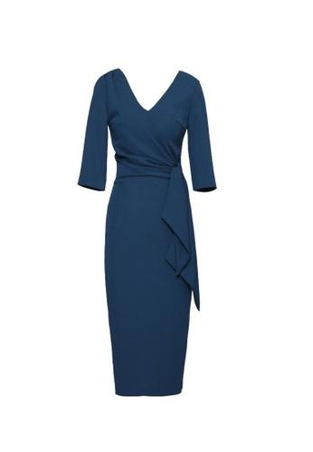 Crystal Korea Fashion blue New Slim Lace-up V-neck Party Dress 719BBAA6756A7EGS_1