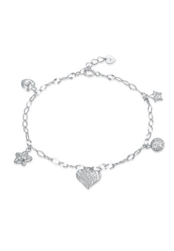 MaBelle silver 14K White Gold Dangling Heart Bracelet MA584AC17IGWHK_1