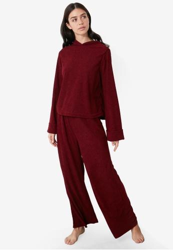 Trendyol red Bordeaux Hooded Velor Tracksuit FBE74AA0D2BFACGS_1