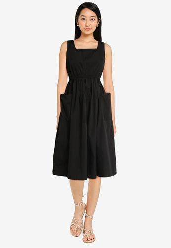 ZALORA BASICS black Pocket Detail Midi Dress 549A6AAB769E5DGS_1