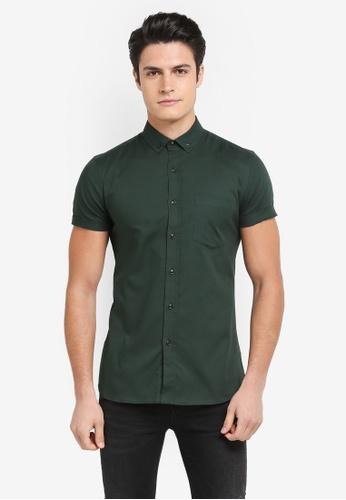 Topman green Muscle Oxford Shirt E7167AA439E58EGS_1