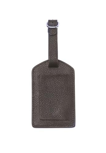 ENZODESIGN brown Deluxe Dark Brown Top Grain Leather Luggage Tag EN880AC07GUYHK_1