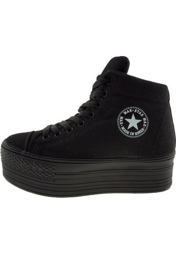 Maxstar 黑色 新款韩国鞋C50-Taller時尚帆布布混合女黑色 US Women Size MA345SH65GUOTW_1