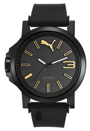 PUMA black and gold Puma Ultrasize 45 Black IP Case and Silicone Strap Watch PU440AC90NQFSG_1