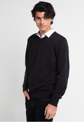 Noir Sur Blanc black Mens Vneck Long Sleeve NO321AA0UHDSID_1