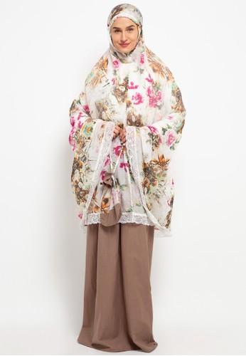 Aira Muslim Butik white and brown Elvina Prayer Set CFD81AAF349154GS_1