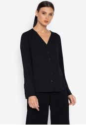Susto The Label black Bani V-Neck Longsleeve Top AFB4AAA94D258AGS_1
